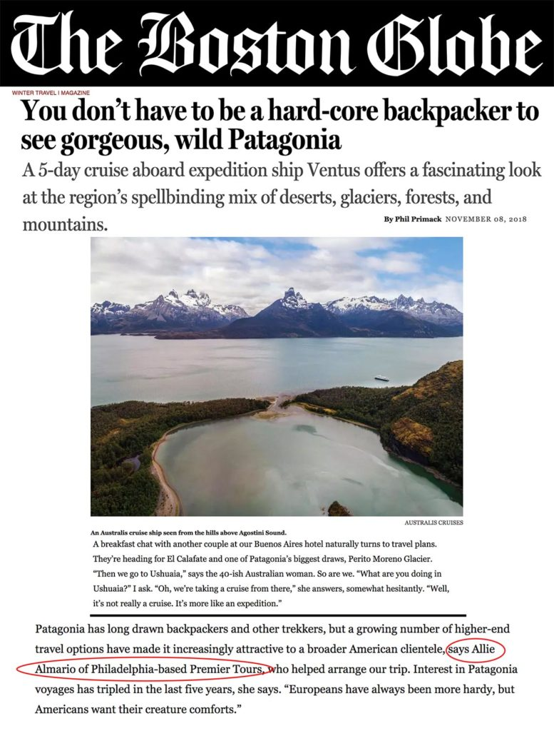 The Boston Globe - You don't have to be a hard-core backpackers to see gorgeous, wild Patagonia article