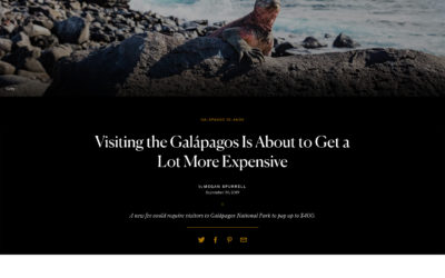 Allie quoted in Conde Nast Galapagos Article